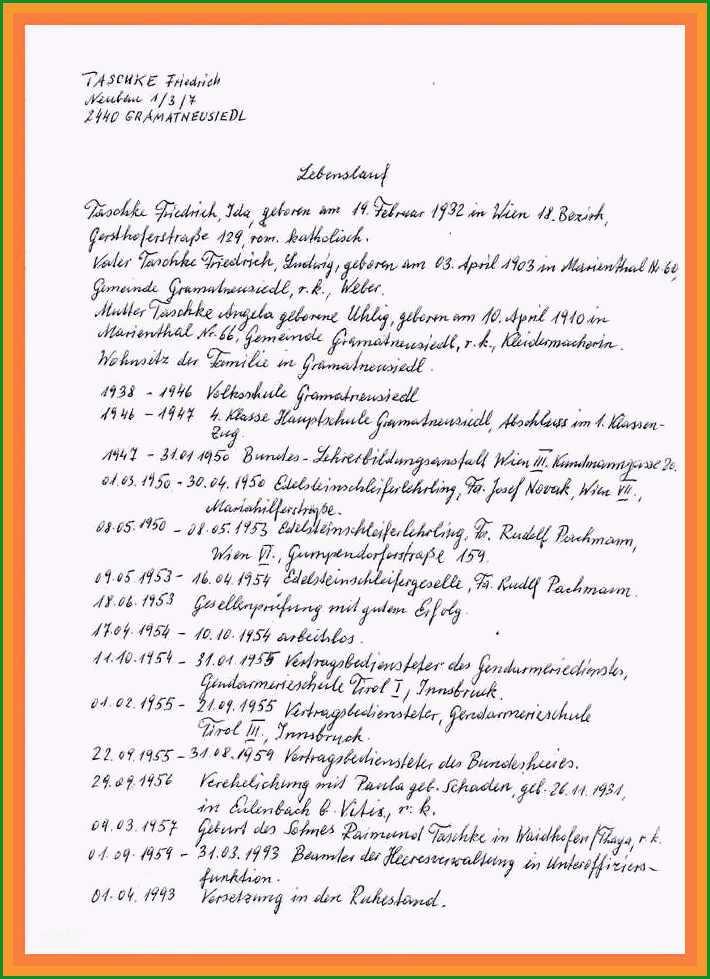 11 lebenslauf vorlage handgeschrieben schule