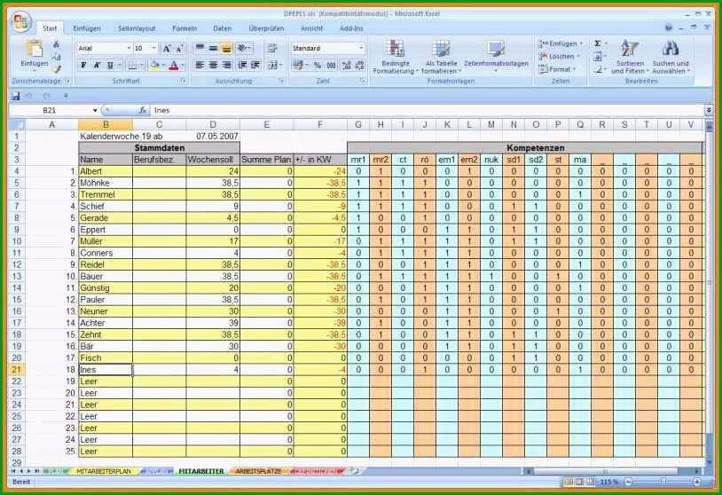 15 arbeitsplan vorlage excel