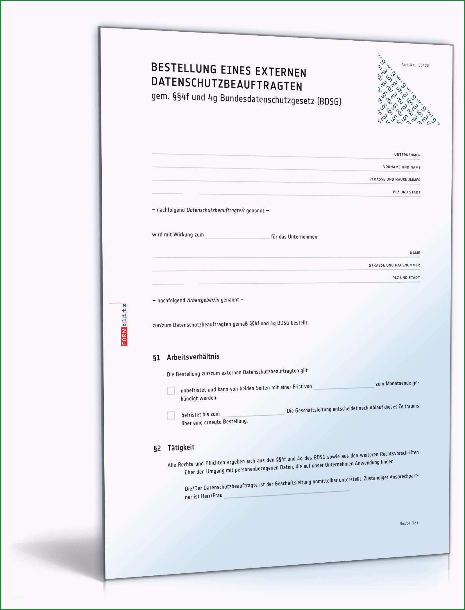 bestellung datenschutzbeauftragter extern