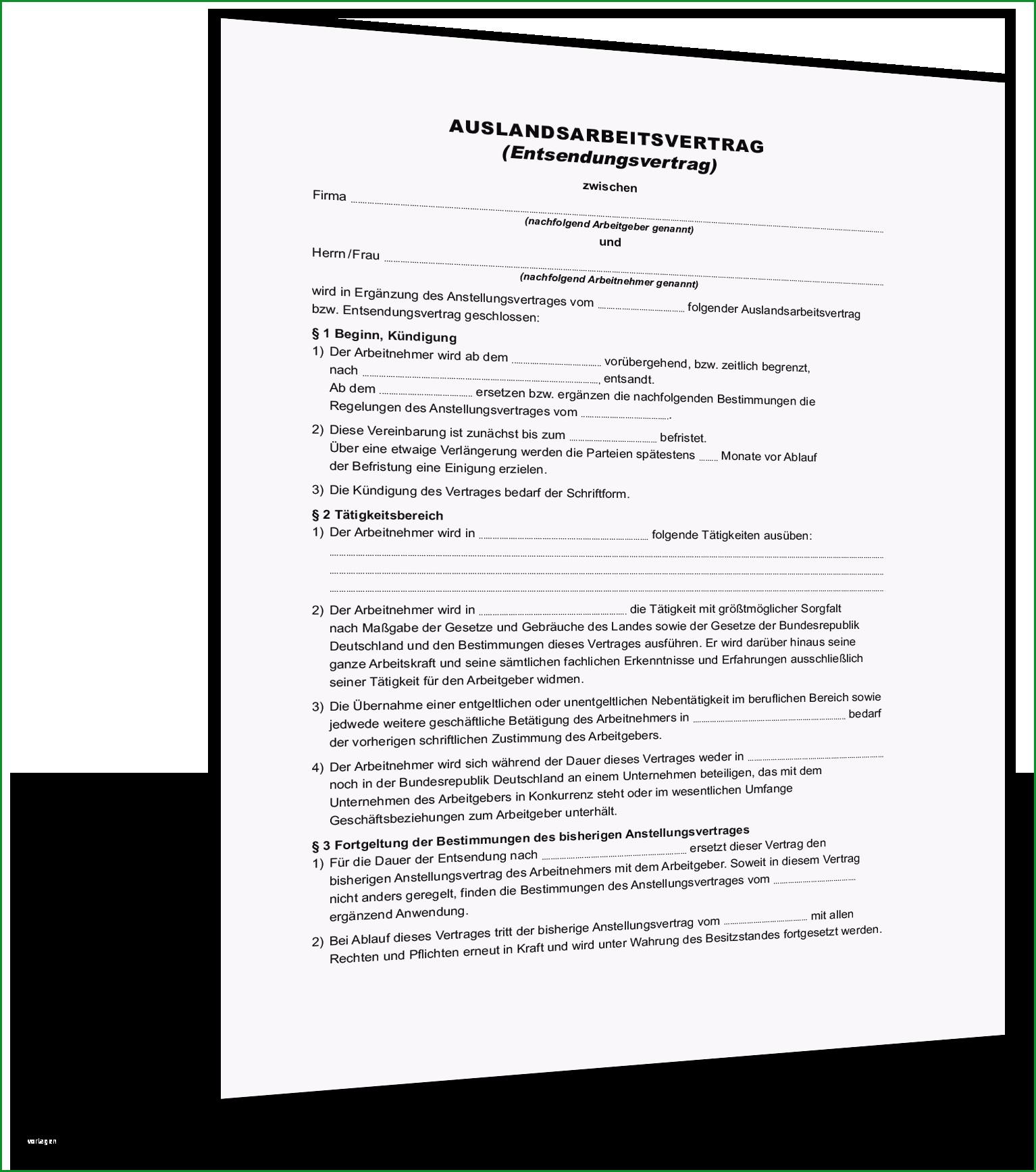 auslandsarbeitsvertrag entsendevertrag