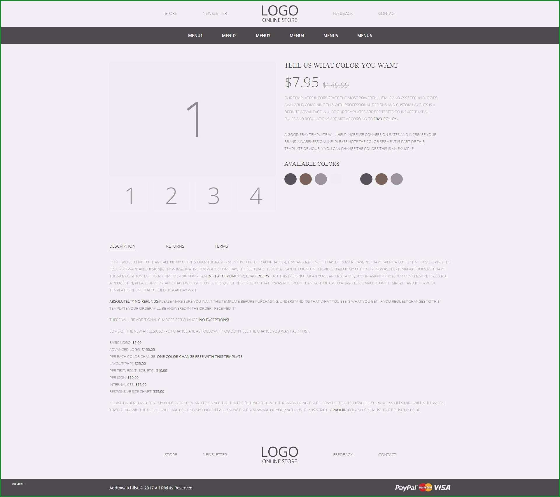 free ebay shop template