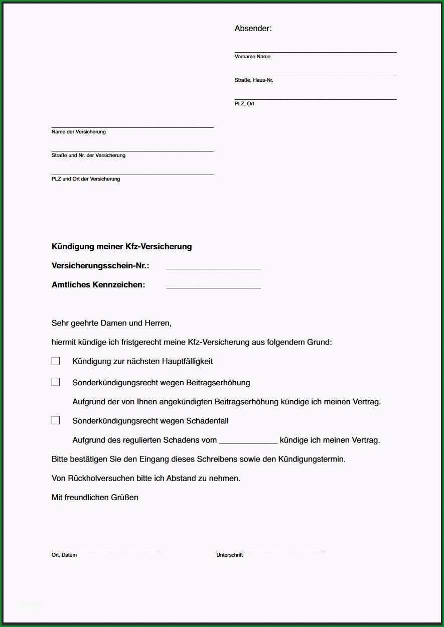 kuendigungsschreiben autoversicherung