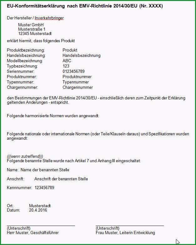 muster einer eu konformitaetserklaerung nach emv richtlinie 2014 30 eu