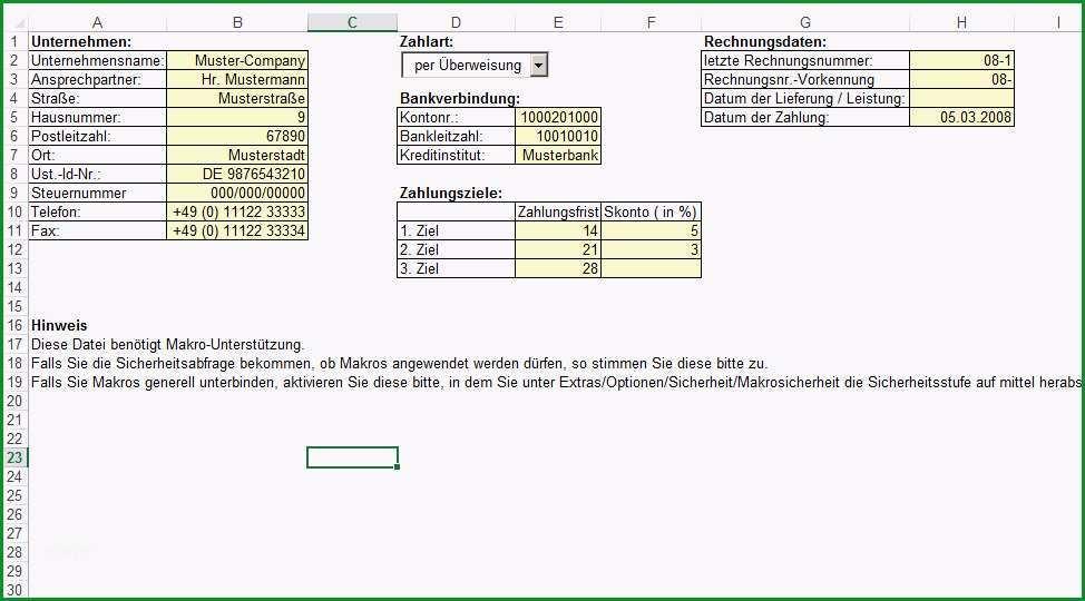 Rechnung Excel Vorlage