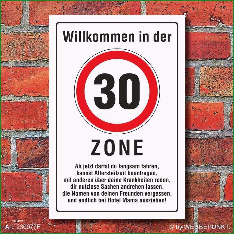 Schild Zone 30 Geburtstag Geschenk lustig spruch 3mm Alu Verbund