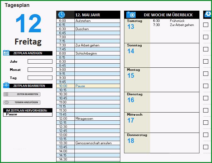 Tagesplan TM