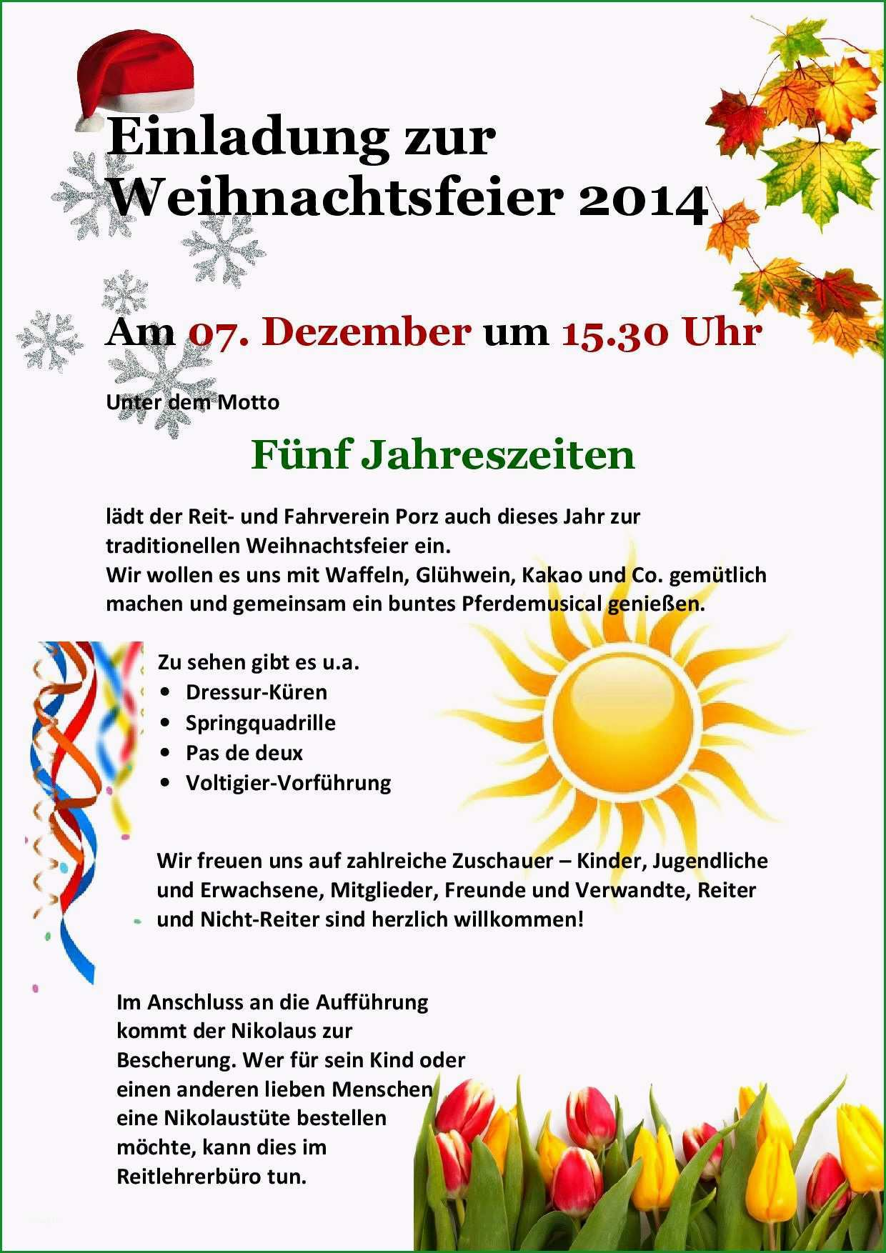 vorlage einladung weihnachtsfeier kostenlos