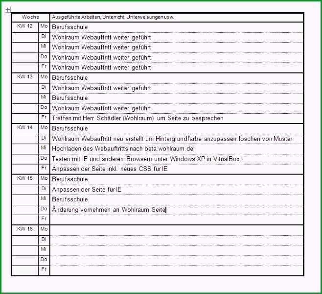 ihk berichtsheft vorlage pdf