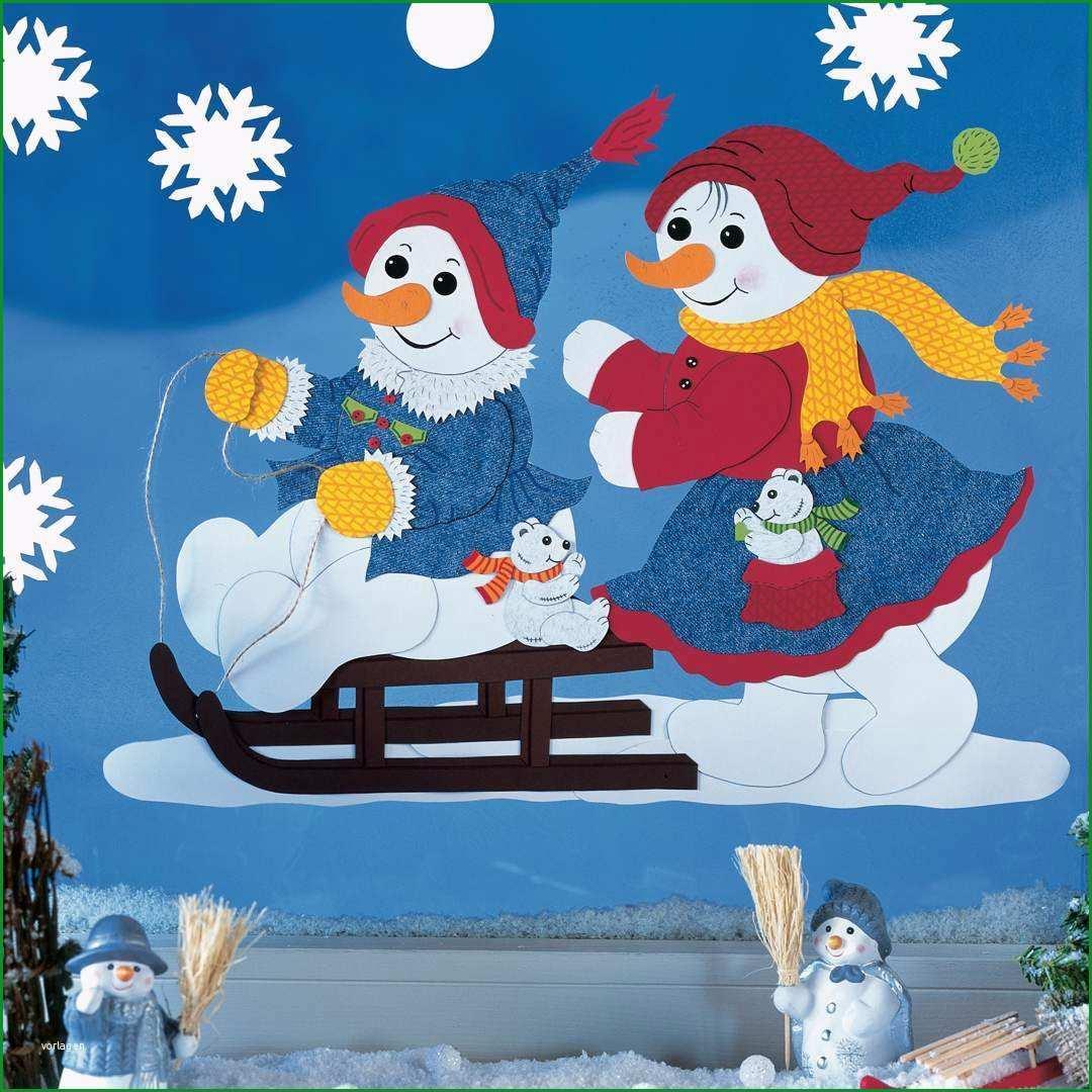 Fensterbild Bastelvorlage Winterfreunde