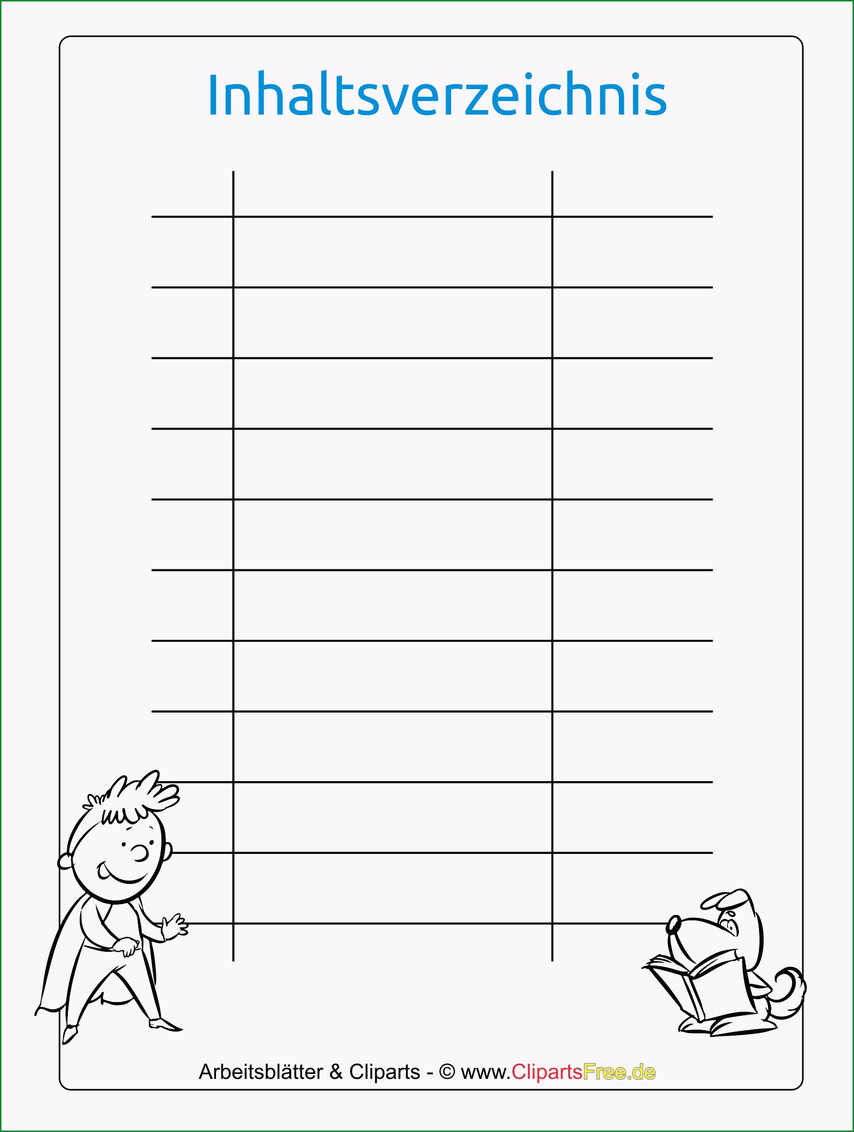 inhaltsverzeichnis vorlage für schule