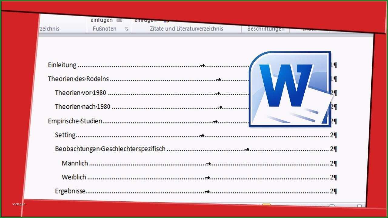 inhaltsverzeichnis word 2010 vorlage