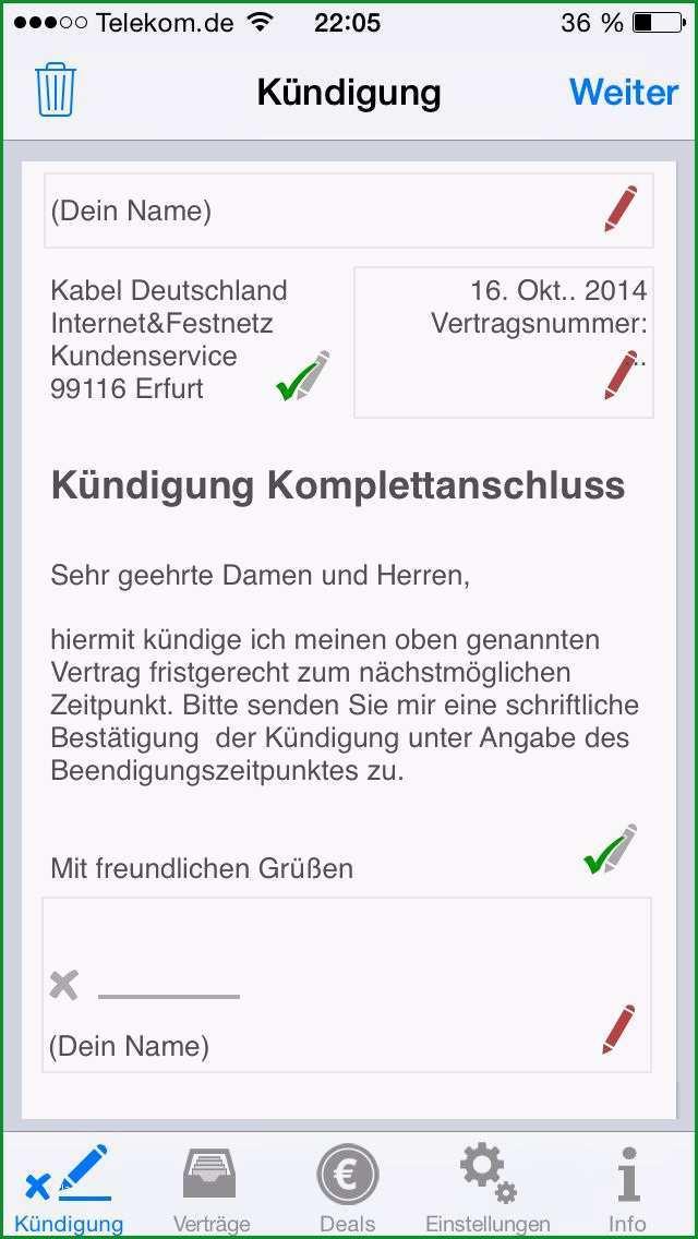 kabel deutschland auserordentliche kundigung vorlage
