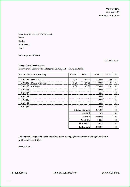rechnungs vorlage mit 19 und 7 prozent mehrwertsteuer excel innerhalb rechnung erstellen kostenlos mac