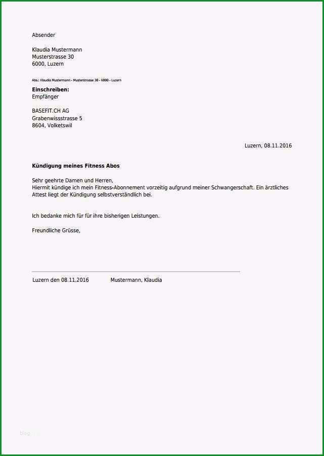 schriftliche kundigung vorlage genial kundigung fur fitness abo kostenlos online als pdf erstellen