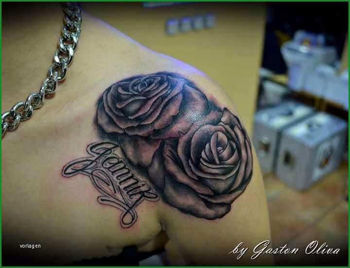 schulter tattoo zwei rosen mit namen