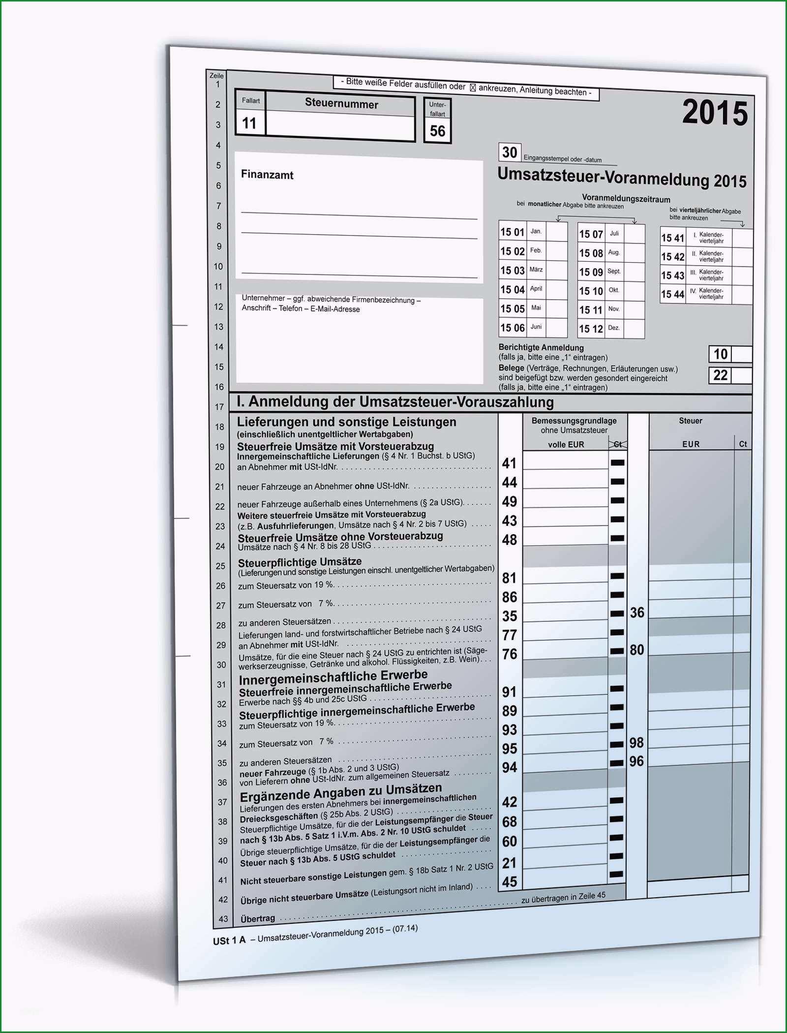 umsatzsteuer voranmeldung 2015