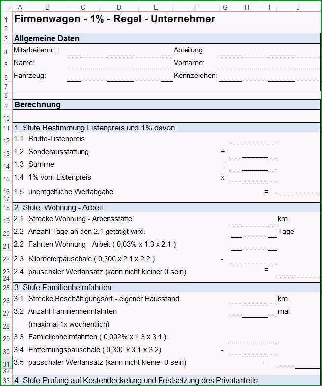 Vorlage Formulare zur PKW Nutzung und Fahrtenbuch