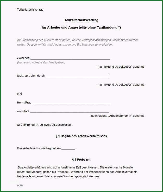 Ausgezeichnet Arbeitsvertrag Teilzeit Muster Download
