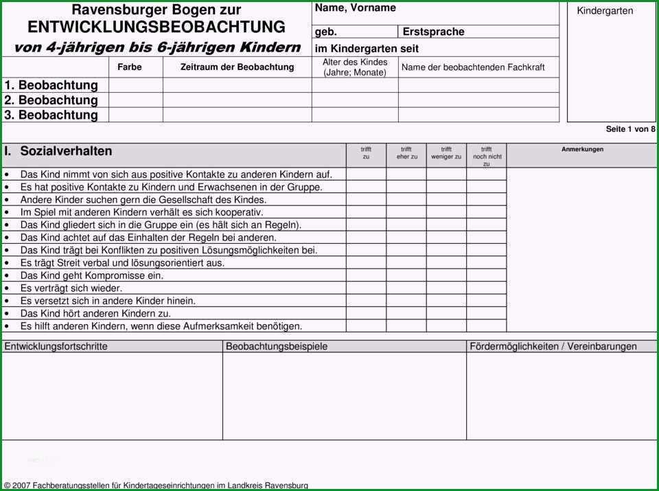 beobachtungsbogen krippe vorlage einzigartig ravensburger bogen zur entwicklungsbeobachtung von 4