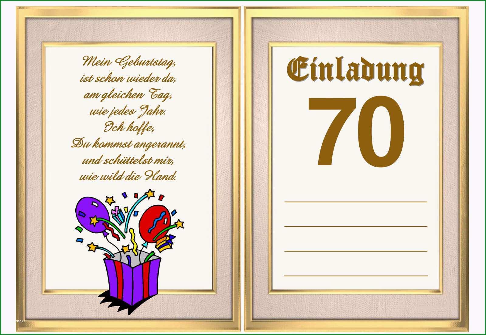 einladung zum 70 geburtstag vorlage kostenlos