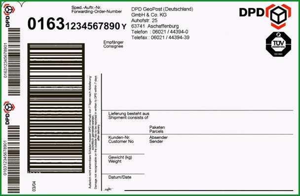Ausgezeichnet Erklärungen Zum Dpd Paketaufkleber