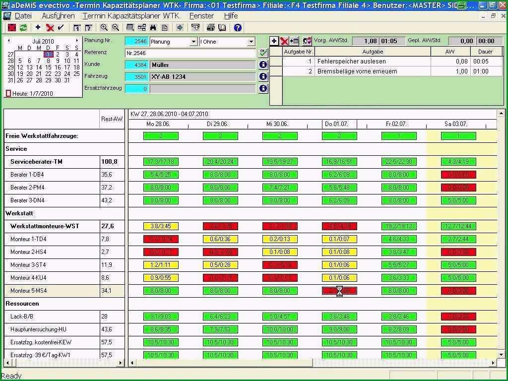 kapazitatsplanung mitarbeiter excel vorlage grosartig werkstattplaner evectivo das steuerungswerkzeug fur ihre