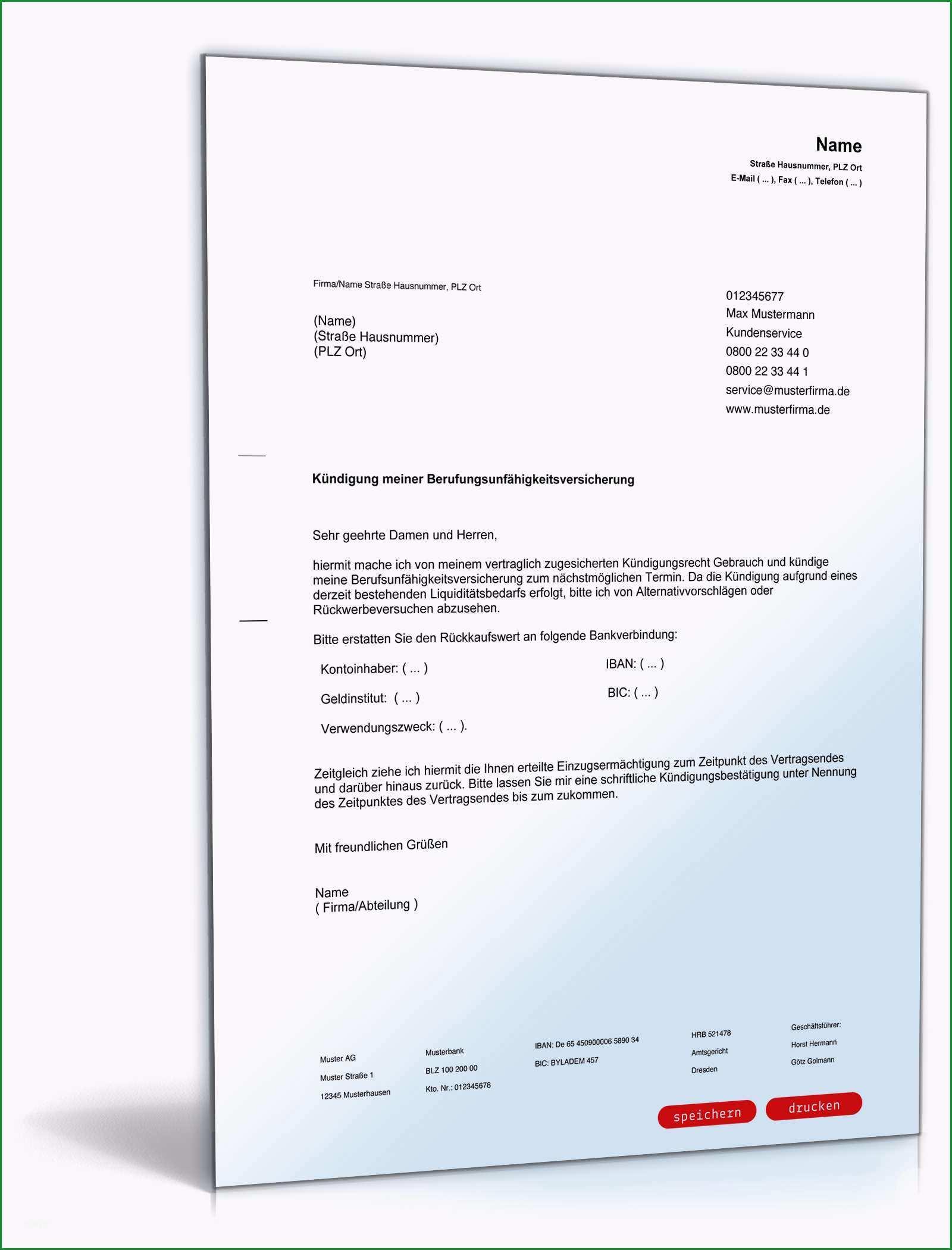 Ausgezeichnet Kündigung Berufsunfähigkeitsversicherung