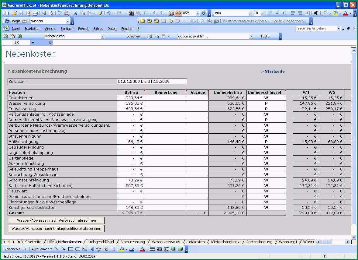nebenkostenabrechnung excel tabelle