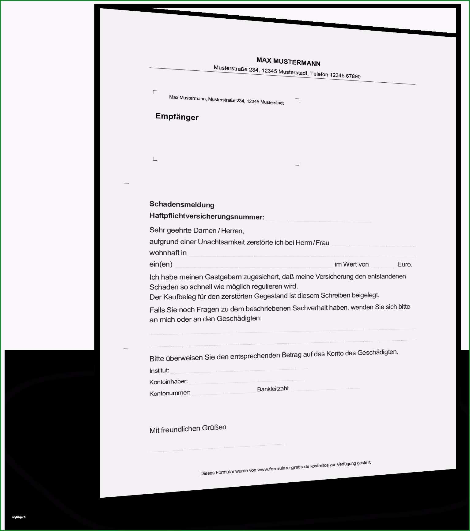 schreiben versicherung schadensregulierung vorlage
