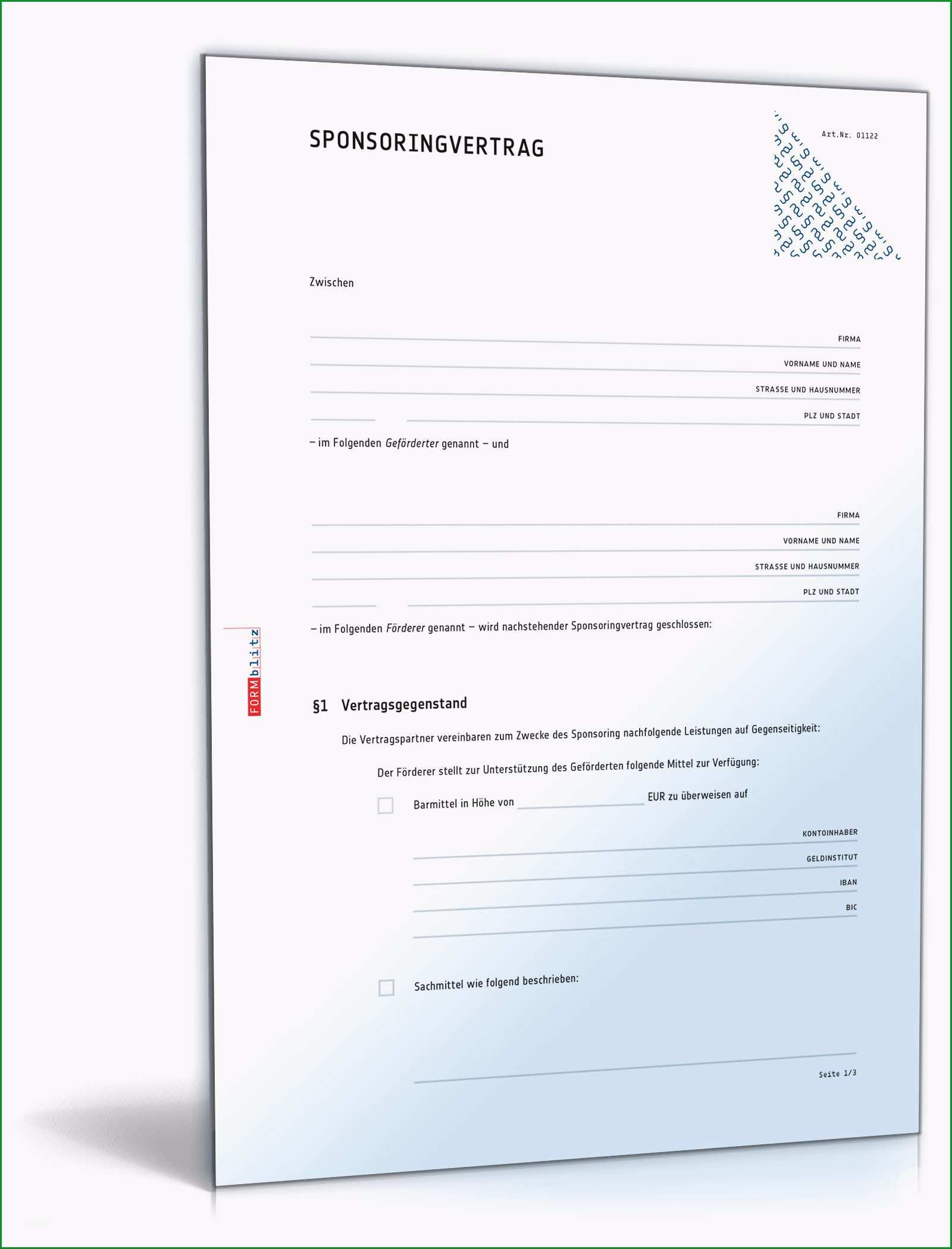 Ausgezeichnet Sponsoringvertrag