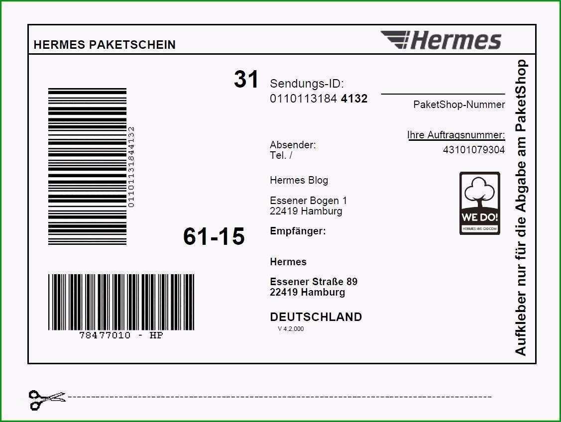 Ausgezeichnet Versandaufkleber Vorlage Am Besten Line Paketschein Hermes