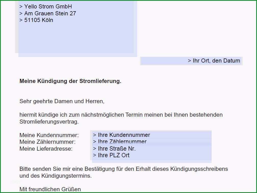 Ausgezeichnet Yello Strom Kündigen Vorlage Download – Kostenlos – Chip