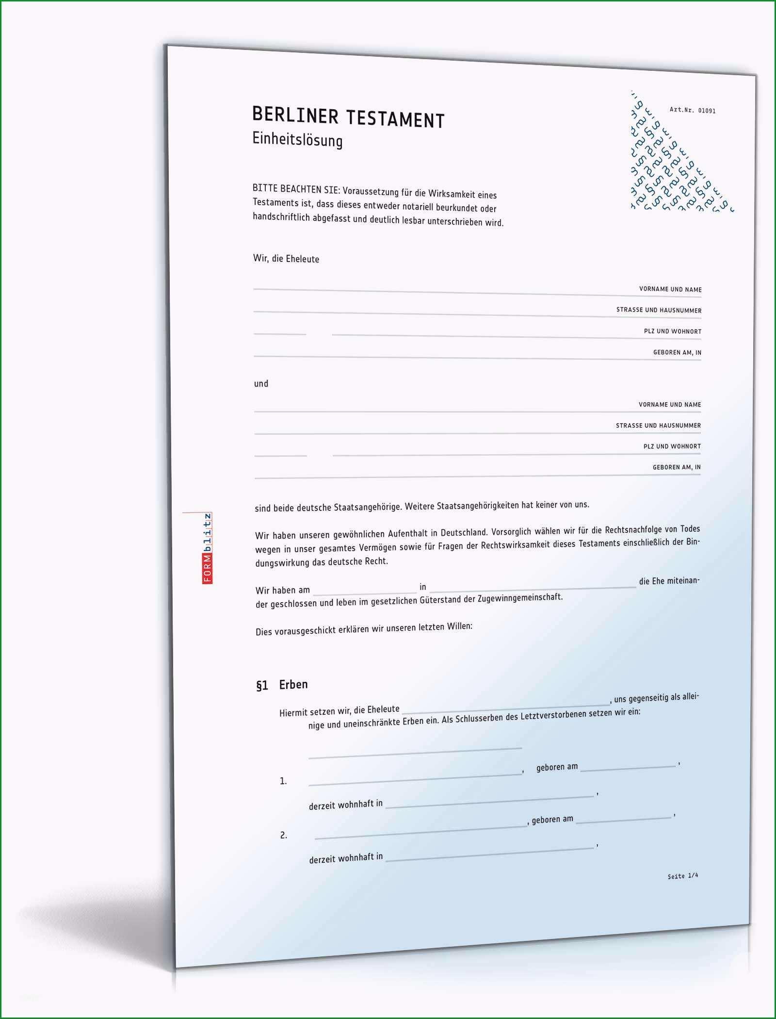 berliner testament einheitsloesung