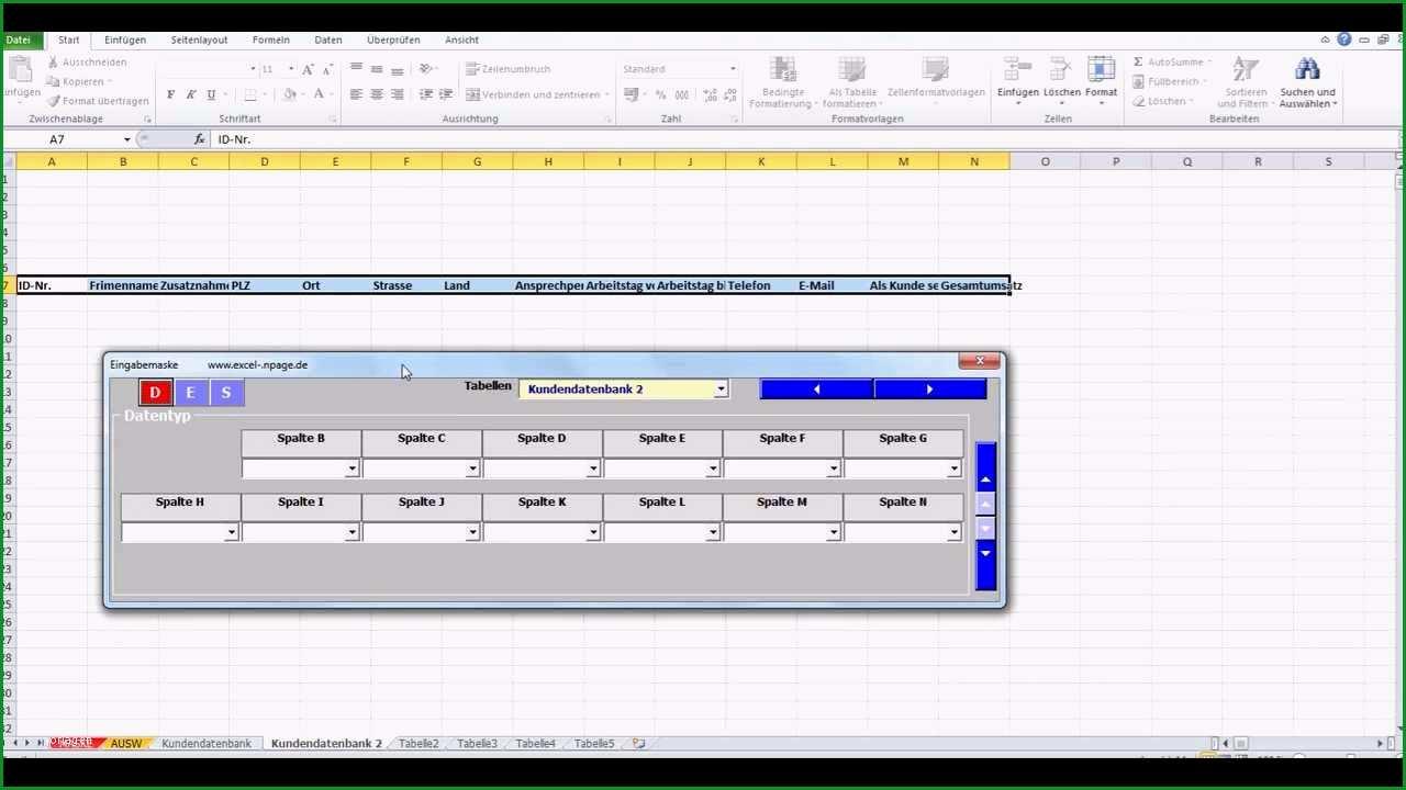 Bemerkenswert Datenbanken In Excel Aus Einer Flexiblen Eingabemaske Mit