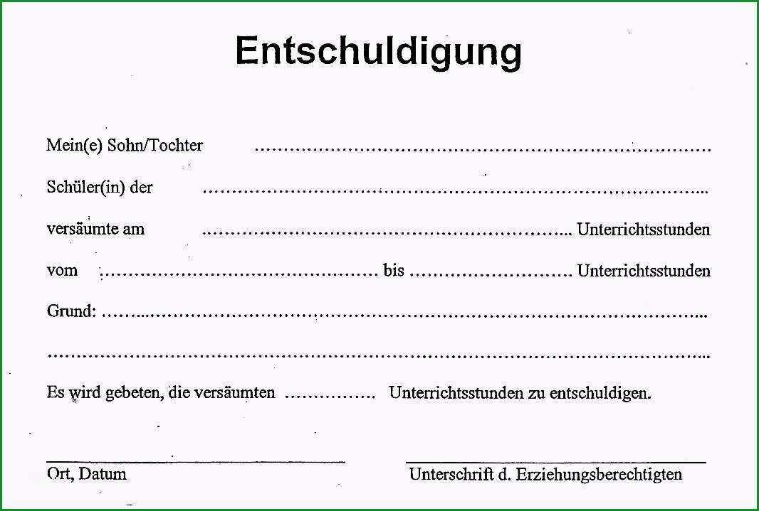 entschuldigung schule vorlage pdf