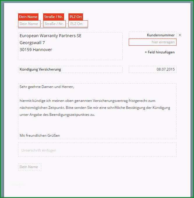 EWP Handy Versicherung kuendigen Vorlage