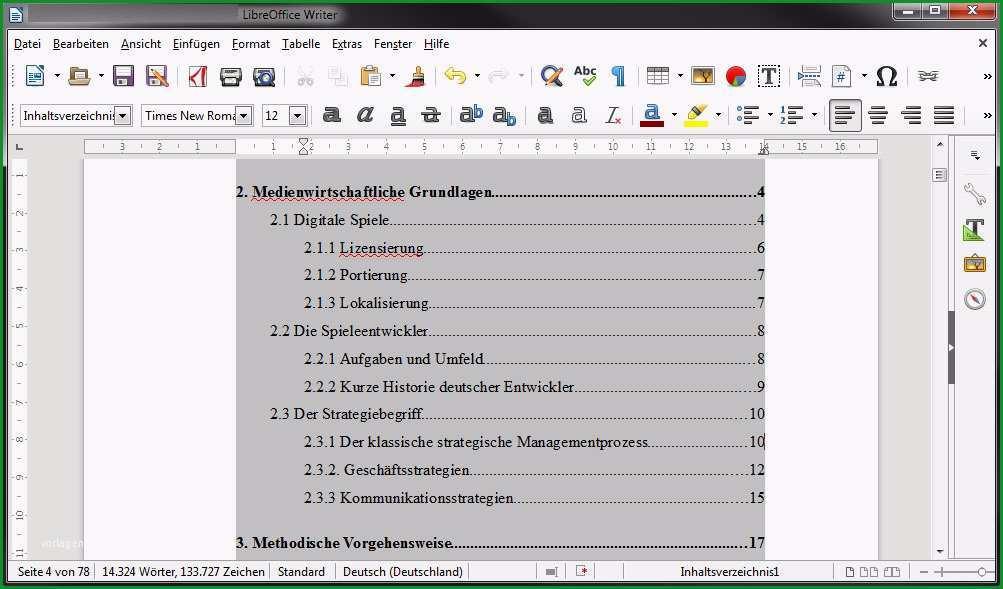 libreoffice inhaltsverzeichnis automatisch erzeugen