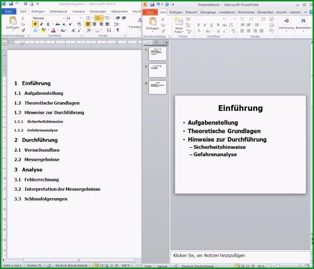powerpoint praesentation aus word gliederung erstellen