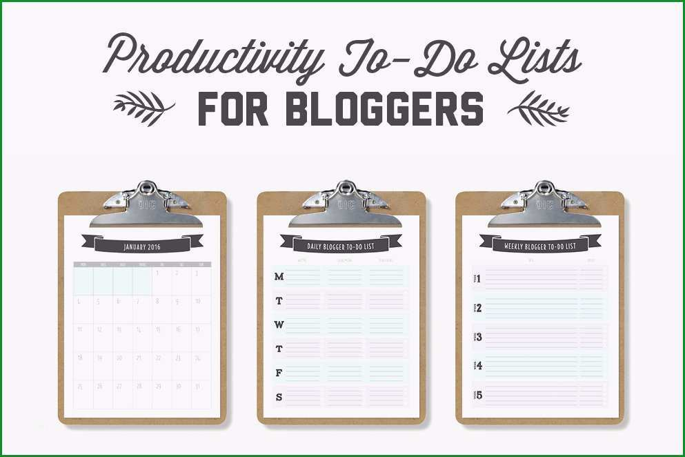 To Do lists for Bloggers