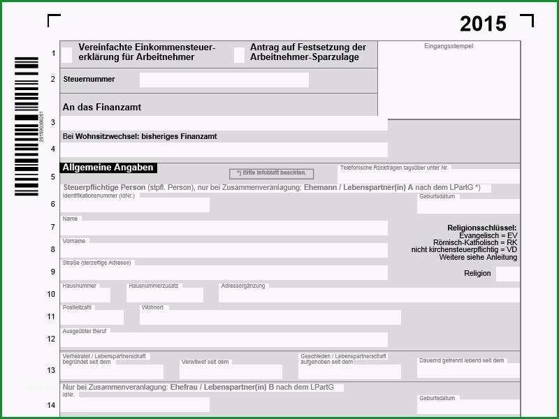 Bemerkenswert Vereinfachte Einkommenssteuererklärung 2015 Pdf Vorlage