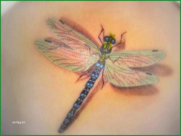 3d dragonfly tattoo design idea