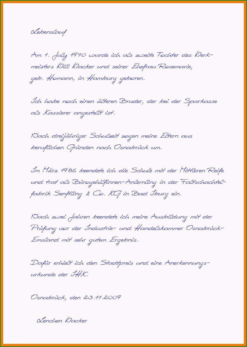 9 10 handschriftlicher lebenslauf aufsatzform