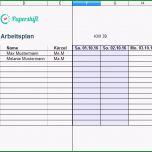 Beste Arbeitsplan Vorlage Excel Kostenloser Download
