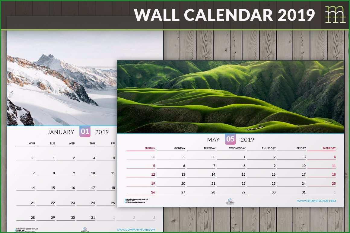 editierbare wand kalender 2019 indesign