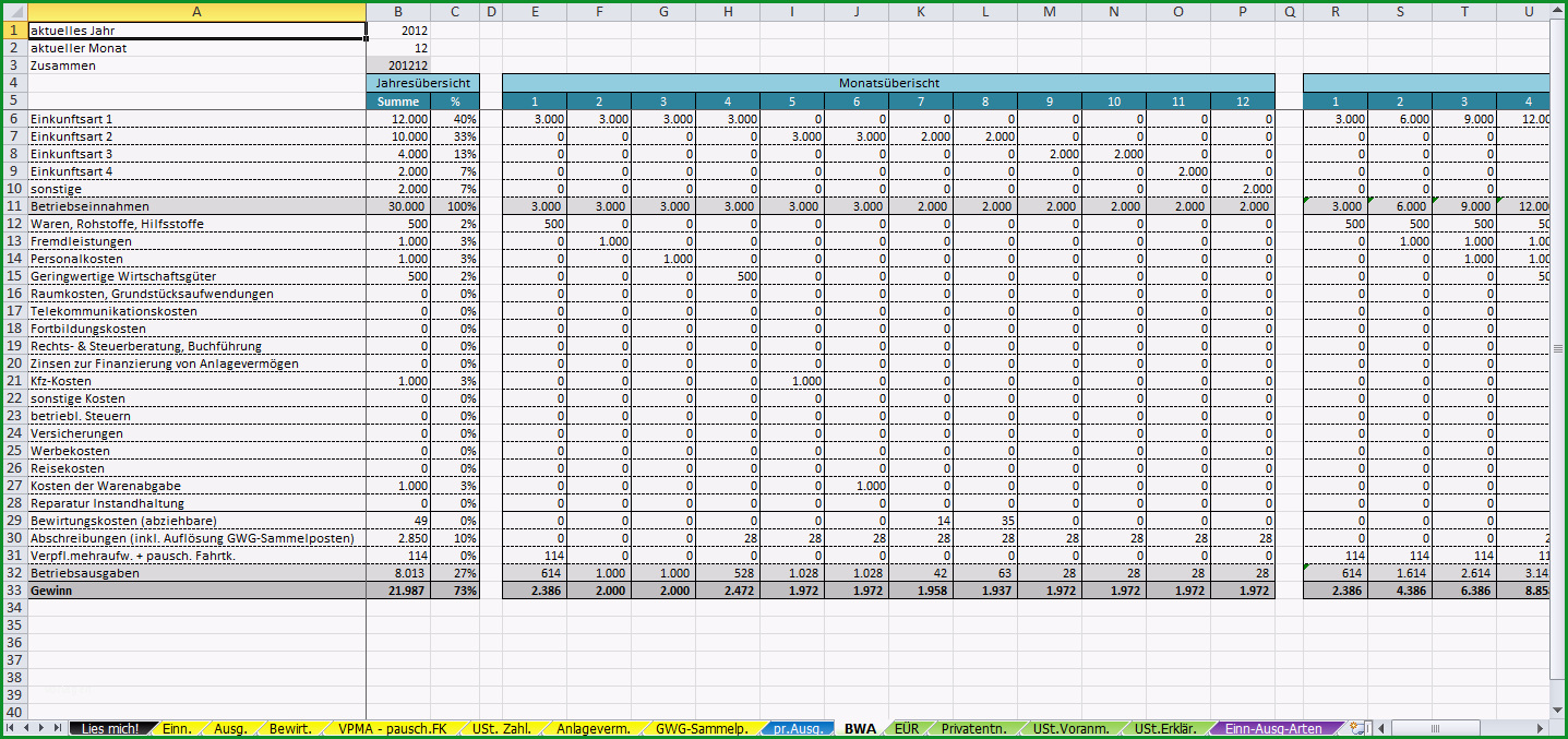 excel vorlage einnahmen ueberschuss rechnung euer 2014
