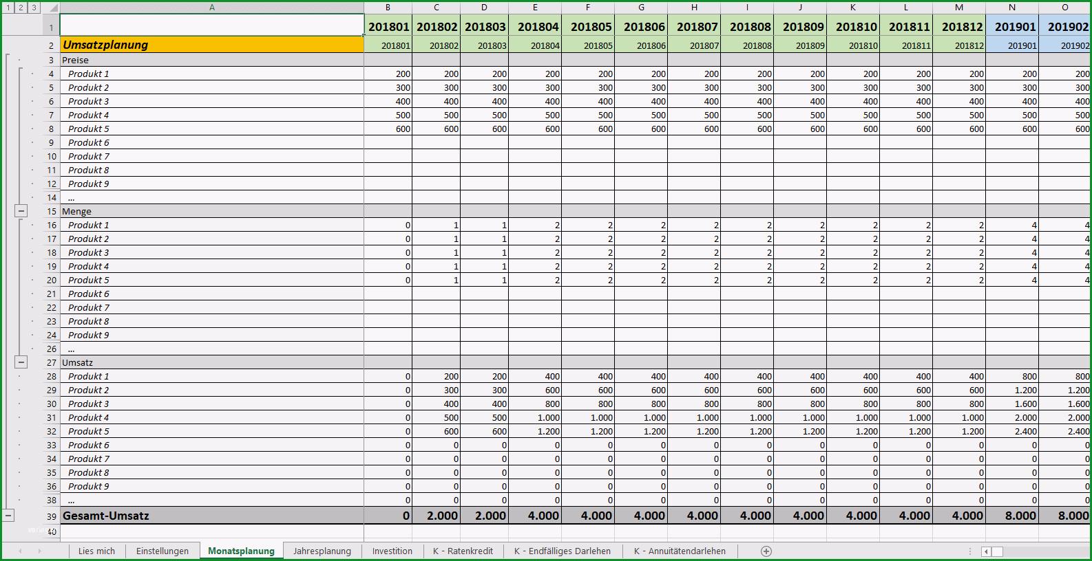 excel vorlage finanzplan businessplan