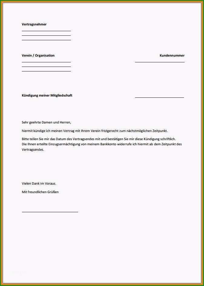 kundigungsschreiben vorlage verein grosartig 10 kundigung verein vorlage