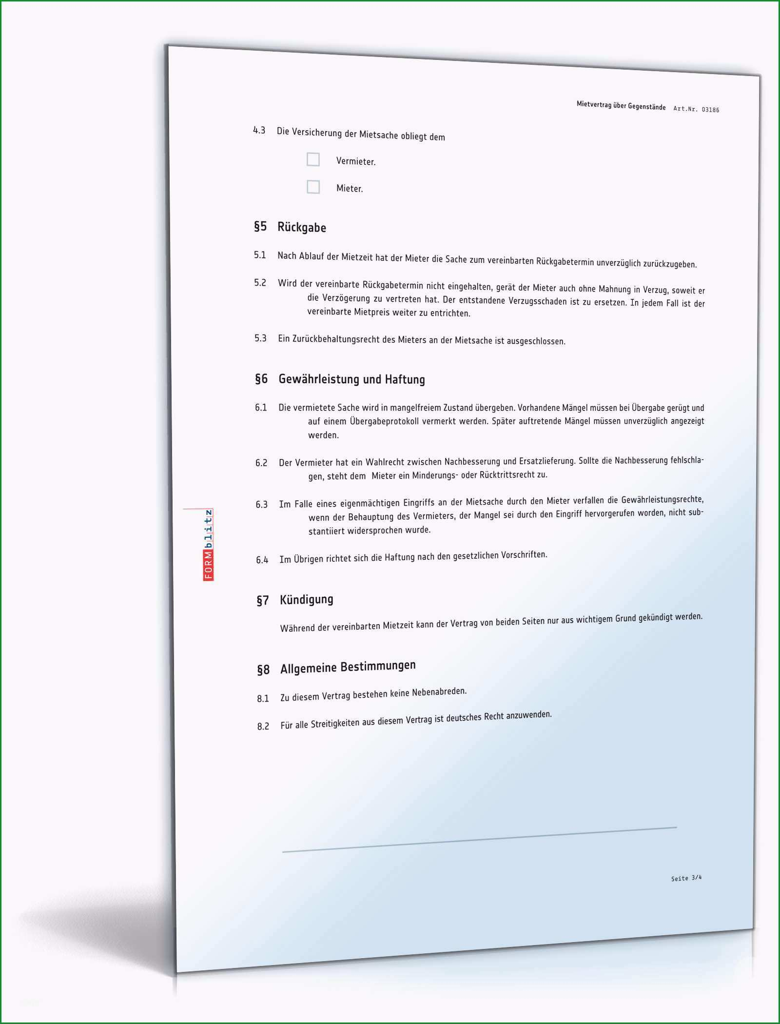 mietvertrag gegenstaende einfach