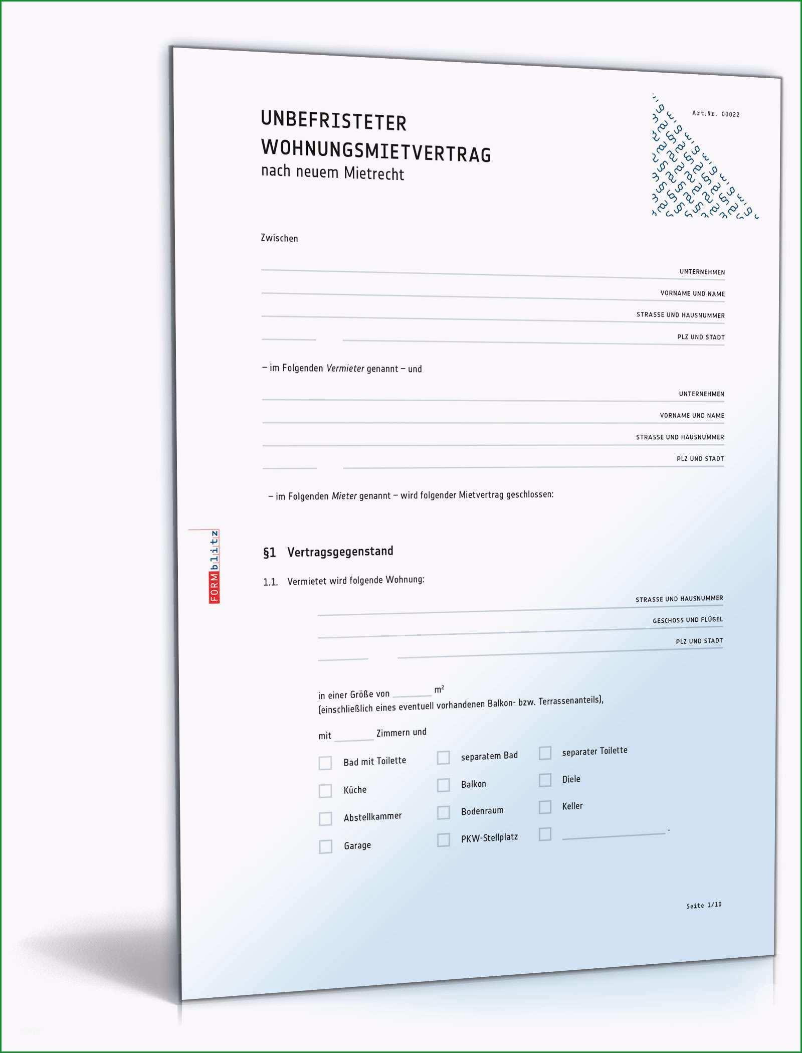 Beste Vordruck Mietvertrag Wohnung Mit Übergabeprotokoll