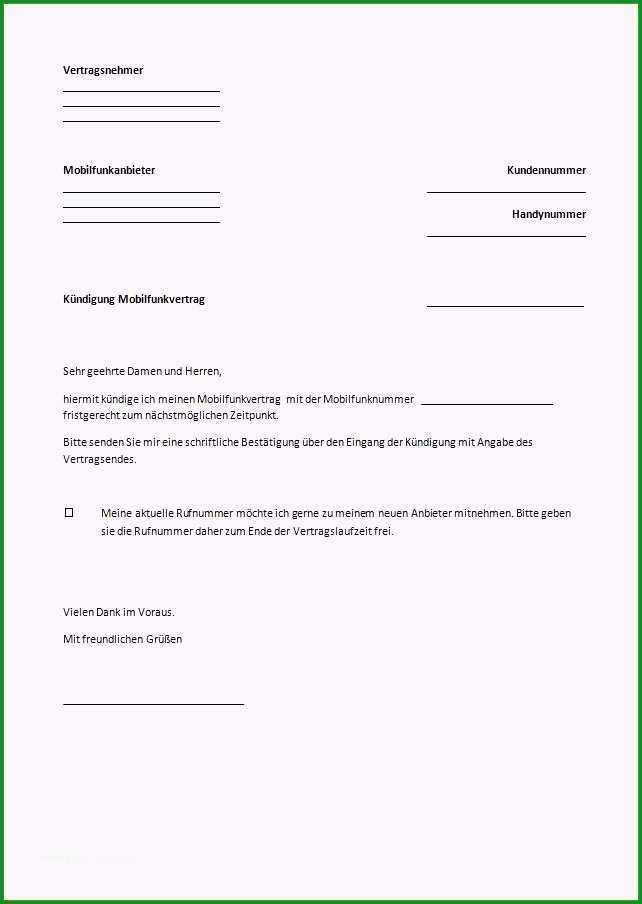 vorlage kundigung vodafone mobilfunk einzigartige kundigung handyvertrag vodafone vorlage